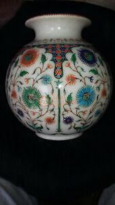 Marble Top Flower Storage Vase Lapis Inlaid Fine Floral Marquetry Design Decor