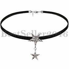 Black Velvet Moon Star Pendant Charms Choker Collar Necklace for Women Girls
