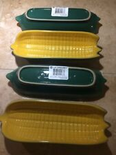 Set of 4 LE CREUSET Corn on the Cob Serving Dishes Fennel Green Dijon Stoneware