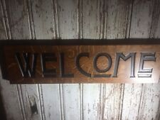 """Mission Oak Sign Carved Welcome Craftsman Style Horizontal 6""""x24"""""""