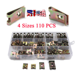 110PCS 4Sizes Boxed Mixed U-type Nuts Car Body Panel Fixed Speed Fasteners Clips