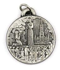 Ancienne médaille (medal) ♦ VIERGE MARIE CENTENAIRE LOURDES 58 ARGENT FIN
