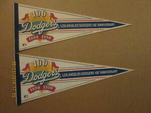 MLB Los Angeles Dodgers Vintage 100TH Anniversary Lot of 2 Baseball Pennants