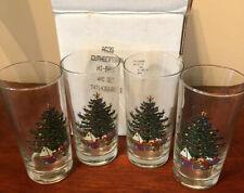 Vintage Set 4 Cuthbertson Christmas Tree Hi Ball Drink Iced Tea Glasses