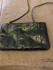 Vintage Snakeskin Clutch Purse Zipper Closure Black