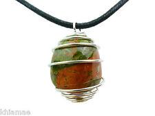 Unakite argent spirale collier noir cordon pendentif pierre précieuse cristal wicca pagan