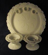 Imperial Glass Holly pattern plate platter candlesticks pr milk glass B3