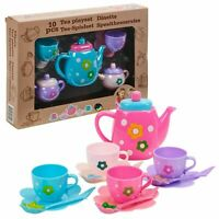 Kids Girls Ten piece Plastic Play Toy Tea Set Teapot Cups and Saucers Gift Pack