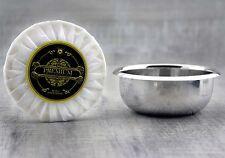 Tazón de fuente de Afeitar de Acero Inoxidable Con Jabón de Afeitado para Hombres De Piel. Perfecto para todos los