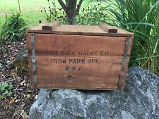 Rosedale Dairy 1650 Park Ave NYC New York City Milk Bottle Wood Wooden Crate Box