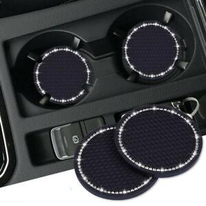 2Pcs Car Auto Bling Rhinestone Cup Holder Anti-Slip Insert Coaster Accessories