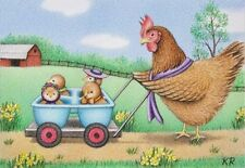 aceo art print hen chicks farm Cute Chicks Taking a Stroll limited ed signed KR