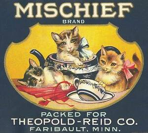 Vintage Label Mischief Brand Cat Fabric Block LG