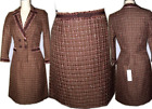 $620 REBECCA TAYLOR Fringed Brown Jacket Blazer Skirt Suit 8 - 44 - M New