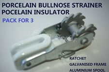 PROCELAIN BULLNOSE INSULATED STRAINER RATCHET SPRING CLIP FENCE FENCING WIRE