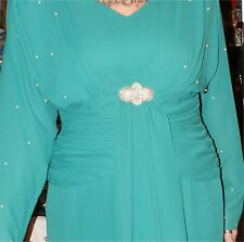 Vintage 80S PATRA  GREEN NEW YEARS EVE DRESS SIZE 12 PEARLS SEQUINS