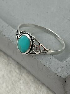 Silver Turquoise Ring 925 Sterling Jewellery Gemstone Gift for her in box