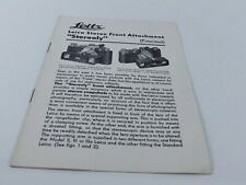 LEITZ LEICA STEREO FRONT ATTACHMENT (STEREOLY) LEAFLET BROCHURE 1937
