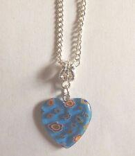 collier argenté 42cm avec pendentif coeur fleurs 21x20mm