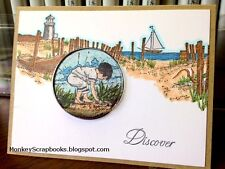 Impression Obsession Cling mounted rubber stamp BEACHCOMBER, Made in USA