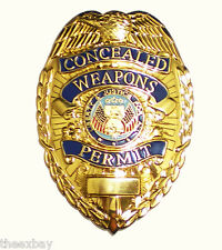 Concealed Weapons Carry Permit Metal Badge GOLD Shield CCW