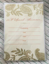 Hallmark invitations NEW IN PACKAGE Gold Glitter Baroque Paisley Set Of 10