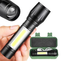 350 lm Rechargeable Zoomable USB T6 COB LED Flashlight Mini Light Lamp Torch
