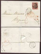 GB QV PENNY RED PAYING PRINTED MATTER RATE to FRANCE 1863 + PAID DOUBLE CIRCLE