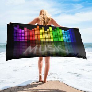 Beat Music Equalizer Colorful Bath or Beach Towel