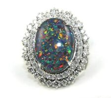 Oval Black Fire Opal & Diamond Halo Solitaire Ring 14k White Gold 8.37Ct
