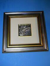 "925 Silver 3D small Picture 2""x2"" Wood Frame, goldtone House Bridge Landscape"