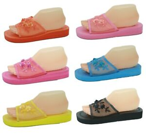 Mesh Sequin Mid-Platform Chinese Open Toe Comfort Slippers Sizes 5 6