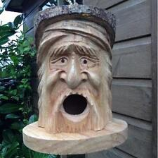 Hand Carved Wooden Forest Green Man Bird House Nesting Box Garden Tree Hanging