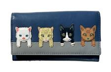 MALA Leather Cat Purse Cats On Wall Ladies Bi-Fold Coin Card Holder Blue Purses