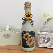 Shabby Chic Vintage Verde Francese GIRASOLE Bottiglia/Portacandele (790)