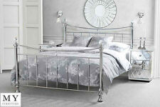 5ft King size  Metal bed Chrome Plated with Crystal finials  - Waterford