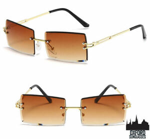 Womens Rimless Fashion Sunglasses Rectangle Sun Glasses Summer Trendy Eyewear