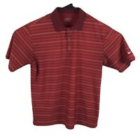NIKE GOLF Mens DRY-FIT Polo Shirt Size M Red White Striped Embroidered Swoosh