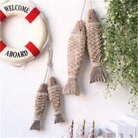 2Pcs Wall-mounted Decor Wooden Hanging Fish Handmade Nautical Home Wall Decor