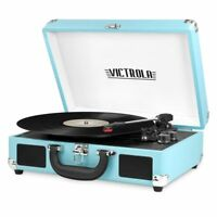 Victrola 3-Speed Bluetooth Speakers Suitcase Record Player Turntable, Turquoise