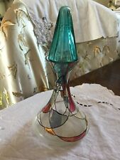 Unique Stained Glass Ships Decanter Perfume bottle & Turret stopper
