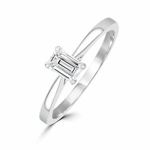 Diamond Engagement Wedding Ring 0.14 Ct Emerald Solitaire 14K White Gold Size 6