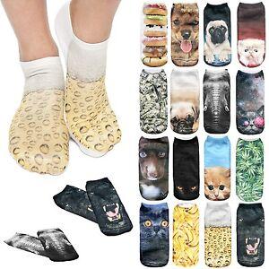 Socks Full Print 3D Womens Fashion Designer Shoulder Cut Ankle Polyester Sox