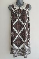 REDHERRING Women's White Mix Paisley Pattern Sleeveless Tunic Dress. Size UK 18.
