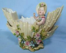 ANTIQUE CONTINENTAL PORCELAIN LARGE VASE WITH GIRL FIGURINE & FLOWERS