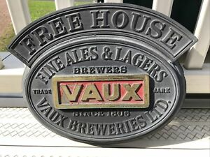 Original Vaux Brewery Free House Pub Sign Brewerania