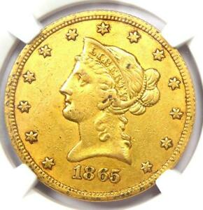 1865-S Liberty Gold Eagle $10 Coin (Inverted Date) - Certified NGC AU Details
