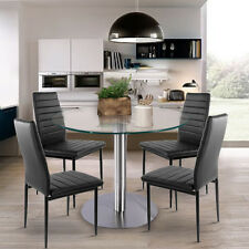 ModernClear Round Glass Dining/Kitchen Table And chairs Set Home Living Room