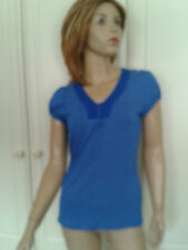 DEBENHAMS BLUE SPOTTED TOP SIZE 10 DETAIL