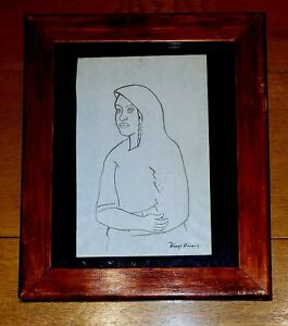 DIEGO RIVERA -MUJER- INK ON PAPER DRAWING
